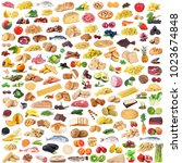 global gastronomy collage on... | Shutterstock . vector #1023674848