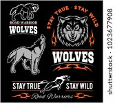 wolves patch   vector badges on ... | Shutterstock .eps vector #1023677908
