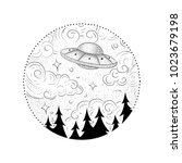 ufo and black hole tattoo and t ... | Shutterstock .eps vector #1023679198