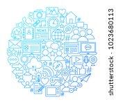 social media line icon circle...   Shutterstock .eps vector #1023680113
