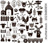 set of hand drawn farm elements ... | Shutterstock .eps vector #1023680854