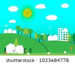 eco friendly homes | Shutterstock .eps vector #1023684778