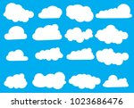 set of cloud icons in trendy... | Shutterstock .eps vector #1023686476
