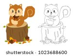 squirrel on top of a tree trunk ... | Shutterstock .eps vector #1023688600