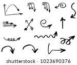 arrows  doodle hand drawn... | Shutterstock .eps vector #1023690376