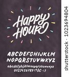 happy hour. chalkboard sign... | Shutterstock .eps vector #1023694804
