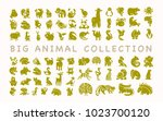collection of flat cute animal... | Shutterstock . vector #1023700120