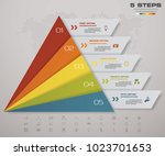 5 steps pyramid with free space ... | Shutterstock .eps vector #1023701653
