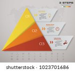 3 steps pyramid with free space ... | Shutterstock .eps vector #1023701686