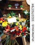 summer flowers bouquet with...   Shutterstock . vector #1023702784
