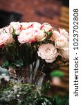 wedding bouquet of white pink...   Shutterstock . vector #1023702808