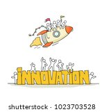 sketch of working little people ... | Shutterstock .eps vector #1023703528
