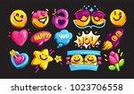 smiley face vector icon set.... | Shutterstock .eps vector #1023706558