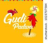 happy gudi padwa  marathi new... | Shutterstock .eps vector #1023707584