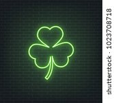 saint patrick's day. neon... | Shutterstock .eps vector #1023708718
