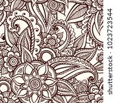 floral seamless pattern. doodle ... | Shutterstock .eps vector #1023723544