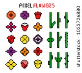 set of various colorful pixel... | Shutterstock .eps vector #1023726880