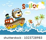 funny sailor cartoon vector on... | Shutterstock .eps vector #1023728983