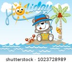 fishing time at holiday. vector ... | Shutterstock .eps vector #1023728989