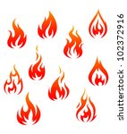 Set Of Fire Flames Isolated On...