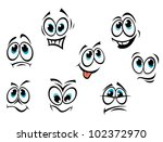 Comics Cartoon Faces Set With...