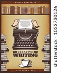 vintage colored writer poster... | Shutterstock .eps vector #1023730126