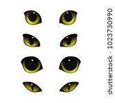 cat emotions eyes realistic set ... | Shutterstock .eps vector #1023730990