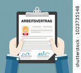 german text arbeitsvertrag ... | Shutterstock .eps vector #1023735148