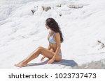young brunette mixed race asian ... | Shutterstock . vector #1023737473