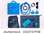 trendy woman accessories. blue... | Shutterstock . vector #1023737938