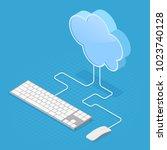 cloud computing technology... | Shutterstock .eps vector #1023740128
