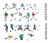 baseball player set   Shutterstock .eps vector #1023743704