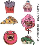 vector  stickers with scary... | Shutterstock .eps vector #1023743950