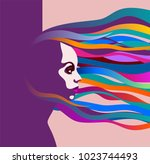 retro portrait of a woman with... | Shutterstock .eps vector #1023744493