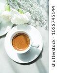 espresso coffee and white... | Shutterstock . vector #1023745144