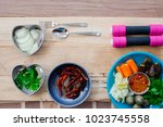healthy lifestyle concept with... | Shutterstock . vector #1023745558
