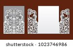 wedding invitation with lace... | Shutterstock .eps vector #1023746986