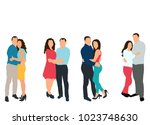 silhouette in colored clothes... | Shutterstock . vector #1023748630