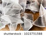 bags of elite tea in silk... | Shutterstock . vector #1023751588
