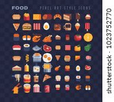food pixel art 80s style icons... | Shutterstock .eps vector #1023752770