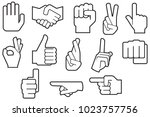 human hand thin line icons | Shutterstock .eps vector #1023757756