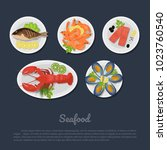 icons of seafood on a plate in... | Shutterstock .eps vector #1023760540