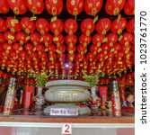 Small photo of inside pagoda in tangerang that start preparing chinese new year. There is a lampion, etc