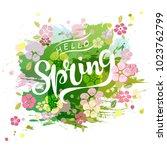 handwritten lettering hello...   Shutterstock .eps vector #1023762799