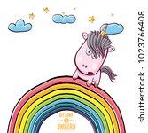 vector funny cartoon cute pink...   Shutterstock .eps vector #1023766408