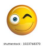 winking emoji. smiling winking... | Shutterstock . vector #1023768370