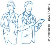 set of nurse. set of doctor... | Shutterstock .eps vector #1023772843
