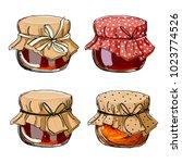 set jars for jam  empty cans ... | Shutterstock .eps vector #1023774526