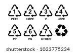 different types of plastic... | Shutterstock .eps vector #1023775234