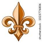 french symbol   fleur de leaf | Shutterstock .eps vector #1023776806